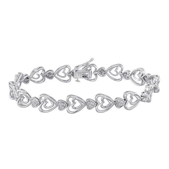ForeverMine® 1/10 CT. T.W. Diamond Sterling Silver Heart Bracelet