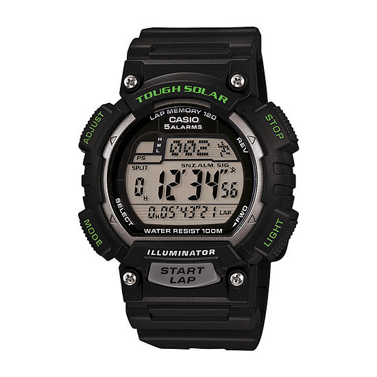 Casio Mens Digital Black Strap Watch-Stls100h1apb