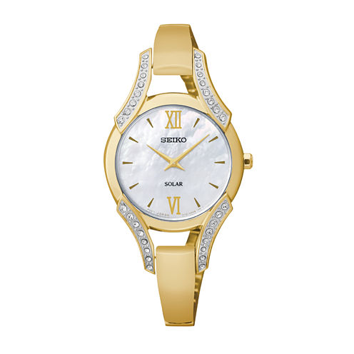 Seiko® Modern Jewelry Womens Mother-of-Pearl Crystal-Accent Watch SUP216