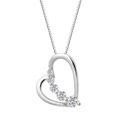 Womens White Sapphire Pendant Necklace