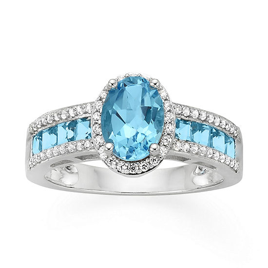 Genuine Blue Topaz Lab Created White Sapphire Sterling Silver Ring
