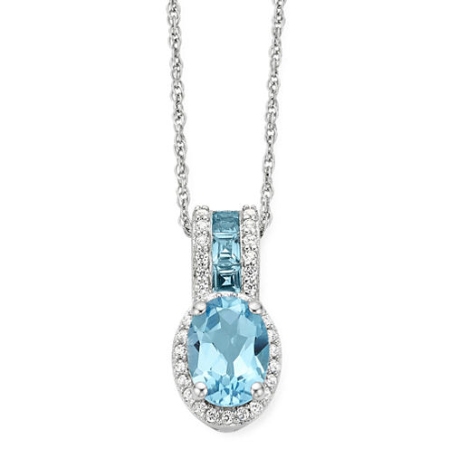 Genuine Blue Topaz & Lab Created White Sapphire Sterling Silver Pendant Necklace