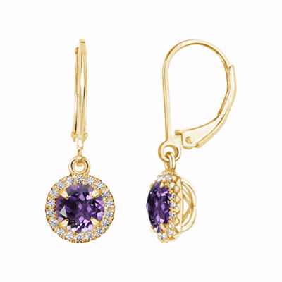 Purple Amethyst 14K Gold Over Silver Drop Earrings