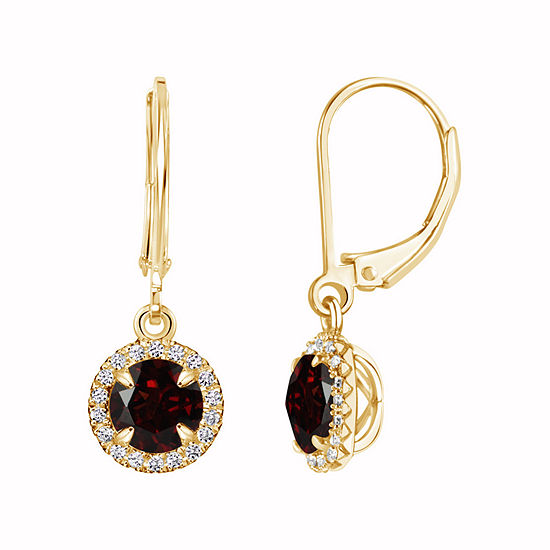 Genuine Red Garnet 14K Gold Over Silver Drop Earrings