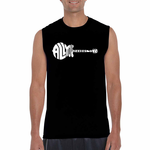Los Angeles Pop Art Sleeveless All You Need is Love Word Art T-Shirt