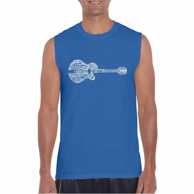 Los Angeles Pop Art Sleeveless Country Guitar WordArt T-Shirt