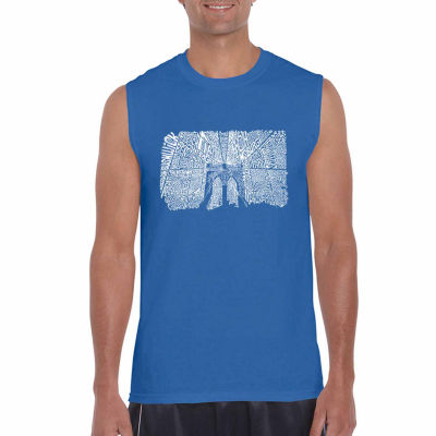 Los Angeles Pop Art Sleeveless Brooklyn Bridge Word Art T-Shirt
