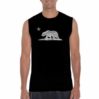 Los Angeles Pop Art Sleeveless California Bear Word Art T-Shirt