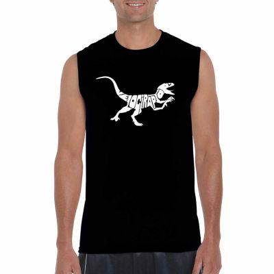 Los Angeles Pop Art Sleeveless Velociraptor Word Art T-Shirt