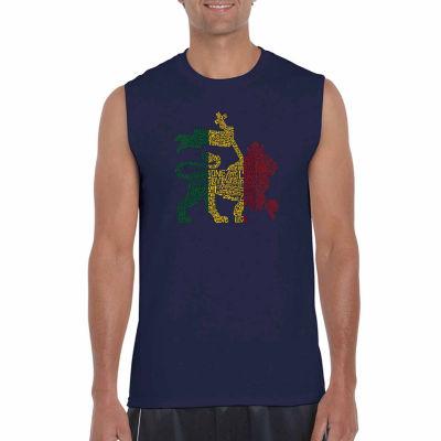 Los Angeles One Love Rasta Lion Sleeveless Word Art T-Shirt