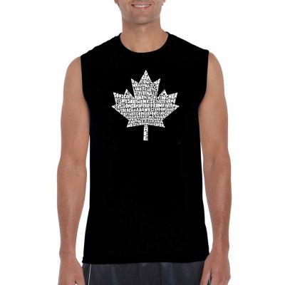 Los Angeles Pop Art Sleeveless Canadian National Anthem Word Art T-Shirt