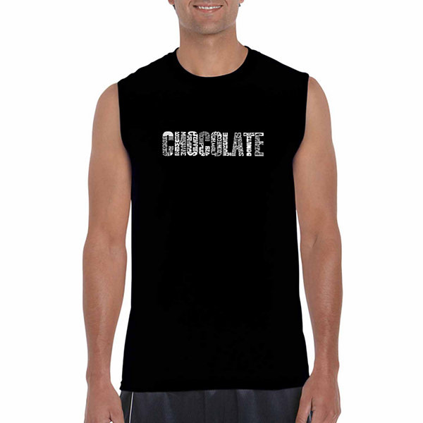 Los Angeles Pop Art Sleeveless Different Foods Made With Chocolate Word Art T-Shirt