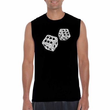 Los Angeles Pop Art Sleeveless Different Rolls Thrown in the Game of Craps Word Art T-Shirt