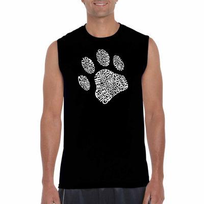 Los Angeles Pop Art Sleeveless Dog Paw Word Art T-Shirt