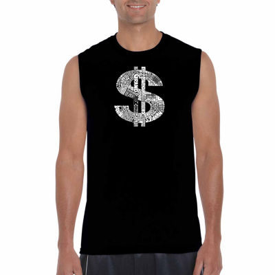 Los Angeles Pop Art Sleeveless Dollar Sign Word Art T-Shirt