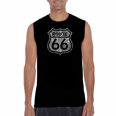 Los Angeles Pop Art Sleeveless Get Your Kicks on Route 66 Word Art T-Shirt