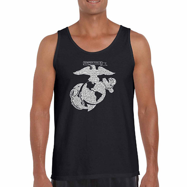 Los Angeles Pop Art Men's Lyrics to the Marines Hymn Tank Top