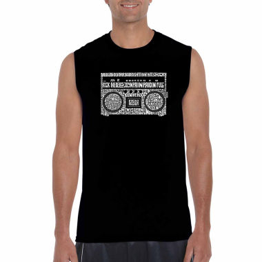 Los Angeles Pop Art Sleeveless Greatest Rap Hits of the 1980's Word Art T-Shirt
