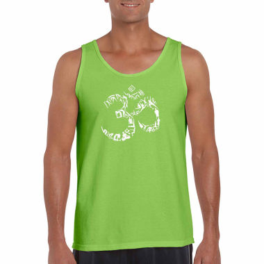 Los Angeles Pop Art Men's the Om Symbol Out of Yoga Poses Tank Top