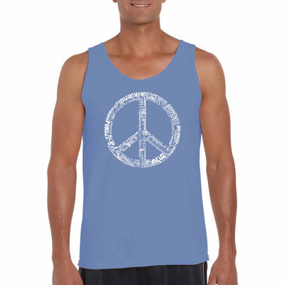 Los Angeles Pop Art Men's the Word Peace in 77 Languages Tank Top