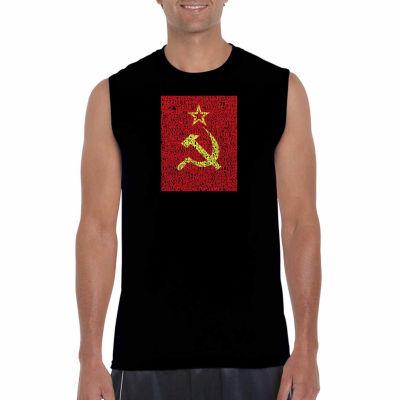 Los Angeles Pop Art Sleeveless Lyrics to the Soviet National Anthem Word Art T-Shirt