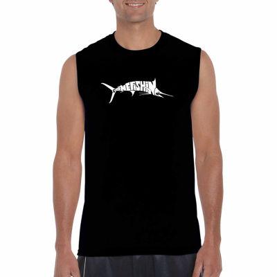 Los Angeles Pop Art Sleeveless Gone Fishing Word Art T-Shirt