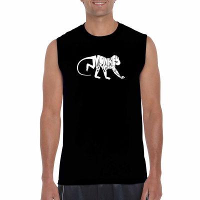 Los Angeles Pop Art Sleeveless Monkey Business Word Art T-Shirt