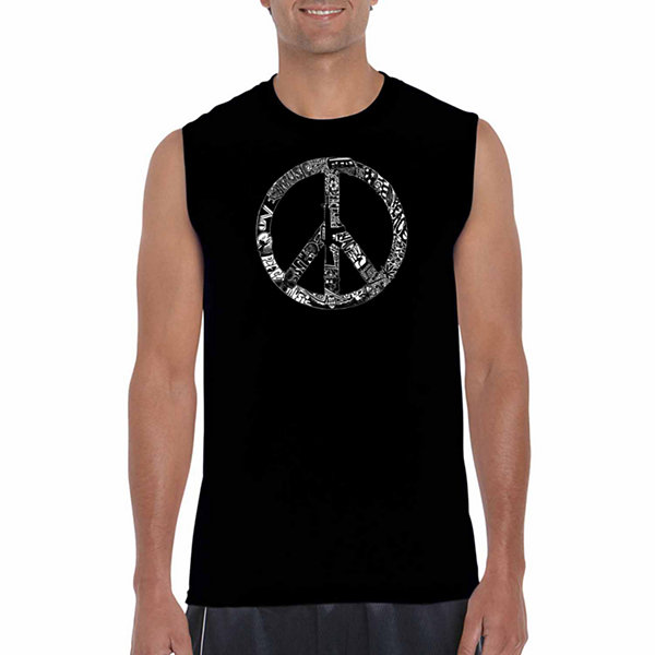 Los Angeles Pop Art Sleeveless Peace Love & MusicWord Art T-Shirt