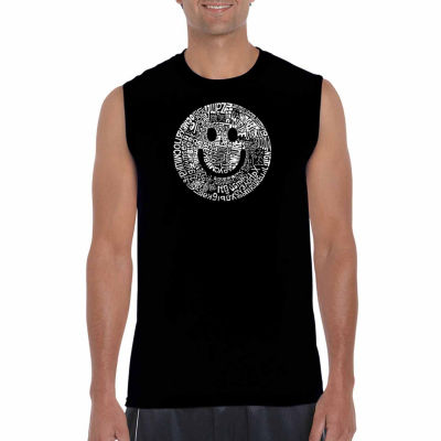 Los Angeles Pop Art Sleeveless Smile in DifferentLanguages Word Art T-Shirt