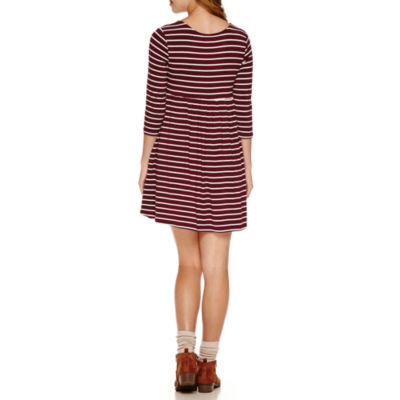 Arizona 3/4 Sleeve Babydoll Dress-Juniors