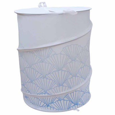Elegant Collapsible Hamper in Blue Shell Design