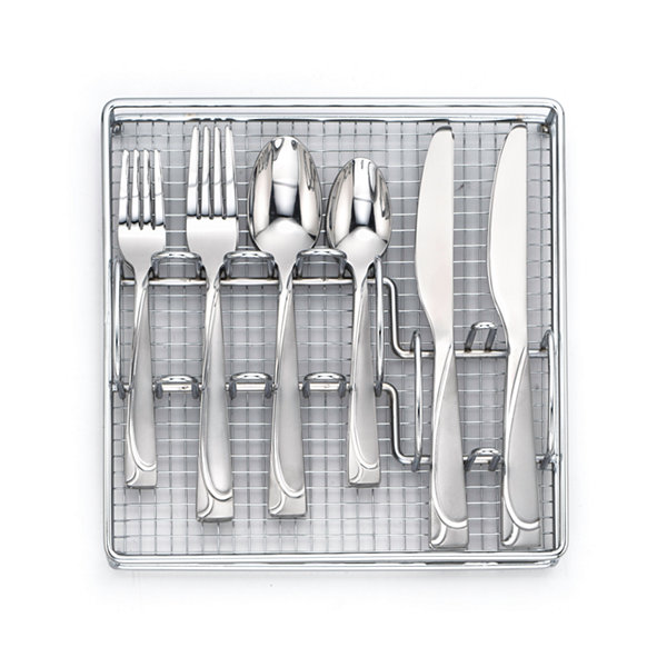 Cambridge Mena Frost 40-pc. Flatware Set with Chrome Buffet Storage Tray