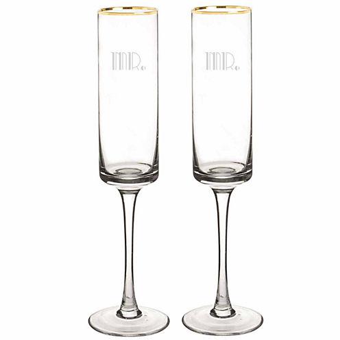 Cathy's Concepts Mr. & Mr. Gatsby Gold Rim Contemporary 2-pc. Champagne Flutes