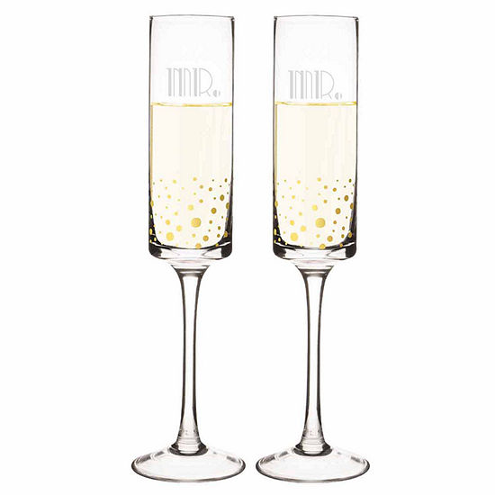 Cathys Concepts Mr Mr Gatsby Gold Dot Contemporary 2 Pc Champagne Flutes