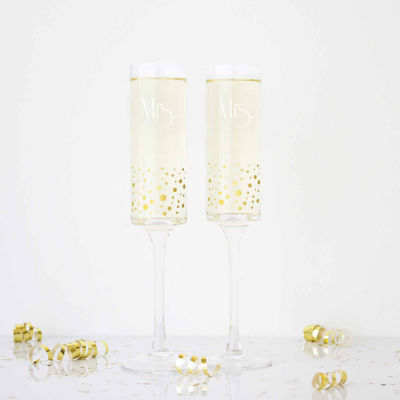 Cathy's Concepts Mrs. & Mrs. Gold Dot 2-pc. Champagne Flutes