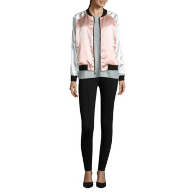 jcpenney.com | i jeans by Buffalo Satin Bomber Jacket, Foil Heather Tee and Pintuck Leggings