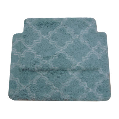 Printed Faux Fur Quatrefoil 2pc Rug Set