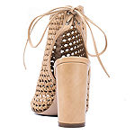 GC Shoes Womens Miami Peep Toe Block Heel Lace-up Pumps
