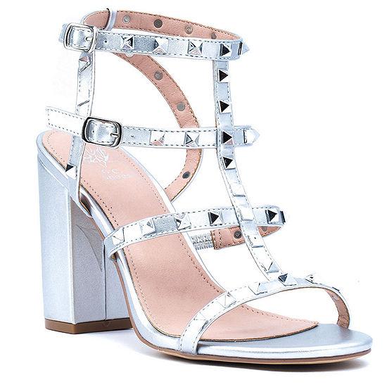 GC Shoes Womens Valentine Buckle Open Toe Block Heel Pumps