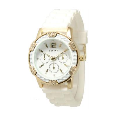 Olivia Pratt Unisex White Strap Watch-15000whitegold