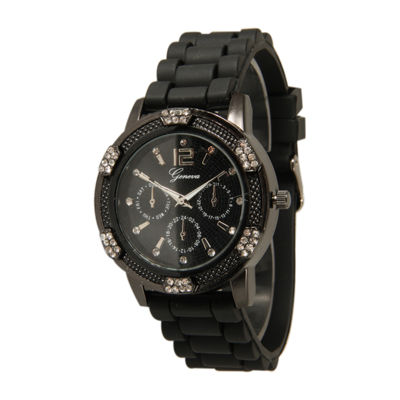 Olivia Pratt Unisex Black Strap Watch-15000gunmetal black