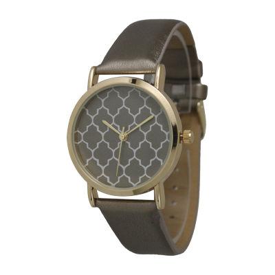 Olivia Pratt Unisex Gray Strap Watch-13423 pewtergold