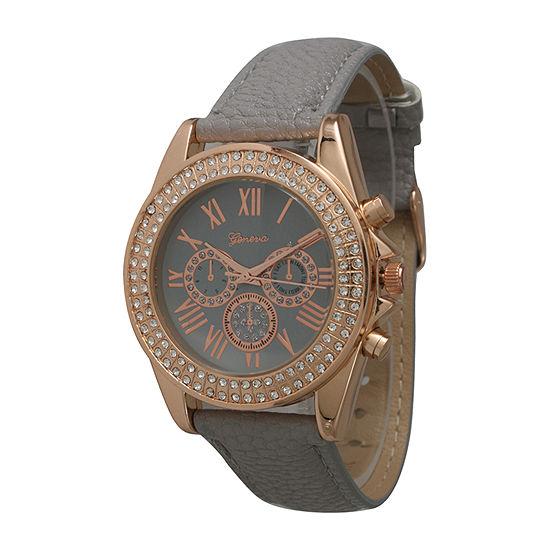 Olivia Pratt Unisex Adult Gray Leather Strap Watch-514032greyrose