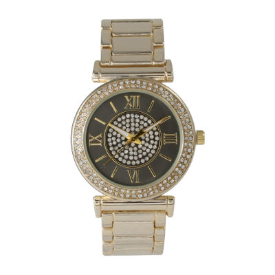 Olivia Pratt Unisex Gold Tone Bracelet Watch-514422goldblack