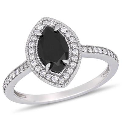 Midnight Black Womens 1 1/4 CT. T.W. Genuine Black Diamond 10K White Gold Engagement Ring