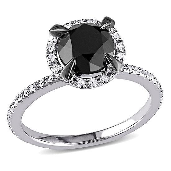 Midnight Black Womens 2 CT. T.W. Genuine Black Diamond 10K White Gold Engagement Ring