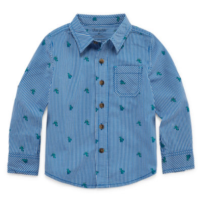 Okie Dokie Boys Long Sleeve Button-Front Shirt Toddler
