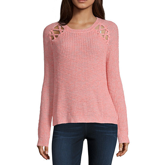 Love More Womens Round Neck Long Sleeve Pullover Sweater-Juniors