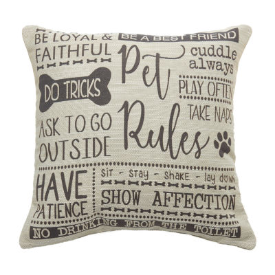 Pet Rules Square Throw Pillow