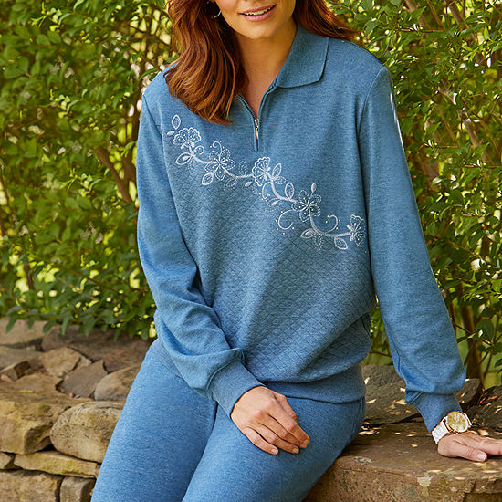 Alfred Dunner At Ease Womens Long Sleeve Sweatshirt